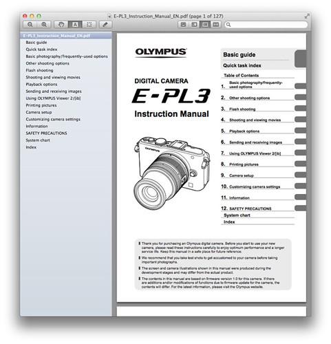Olympus E-PL3 Manual