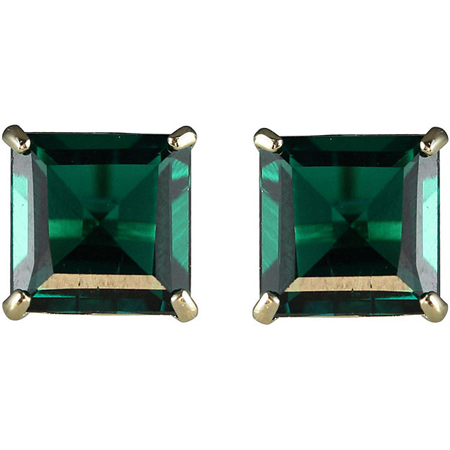 Lab created emerald earrings in white gold