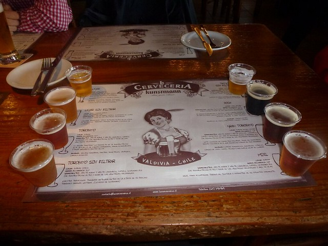 Sample beers at the Cerveza Kunstmann, Valdivia, Chile
