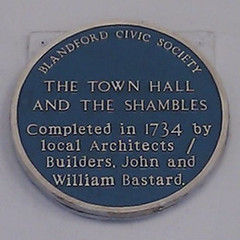 Photo of The Shambles, Blandford Forum, Town Hall, Blandford Forum, William Bastard, and John Bastard blue plaque