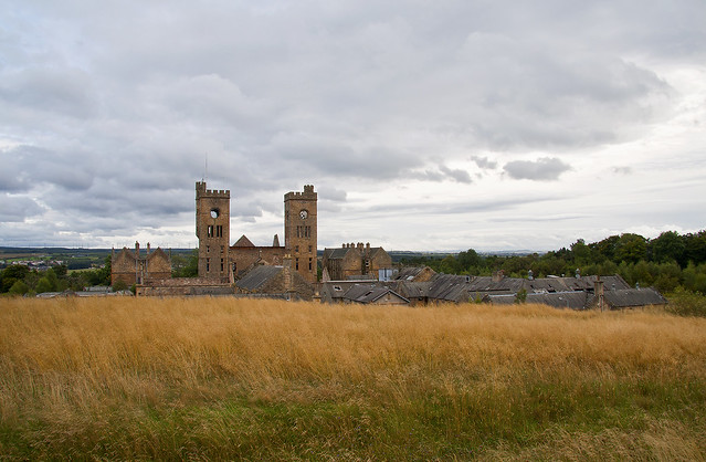 A panoramic shot of Hartwood Hospital overlooking the surrounding fields