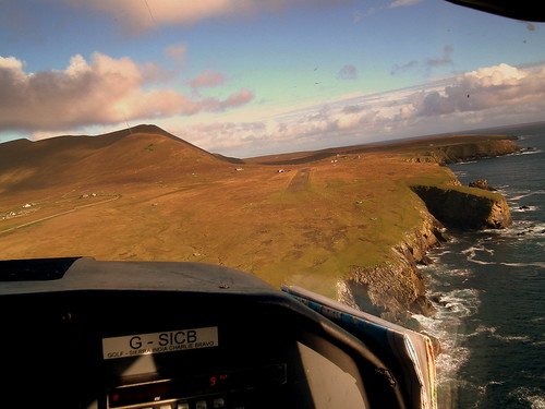 ON FINALS FOR FOULA AIRSTRIP GSICB BN2A ISLANDER DIRECT FLIGHT SHETLAND ISLANDS SEP 2011