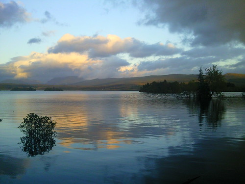 Dusk over Loch Awe from the Ardanaiseig Hotel Boat Shed