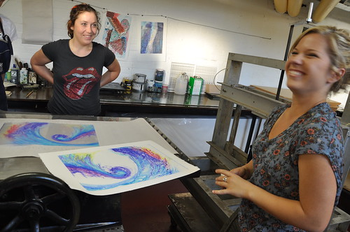 Adele's plate, and resulting print.  Instructor Kacie looks on.