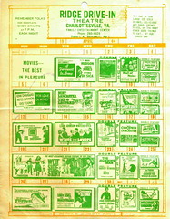 Ridge Drive-In Theater Calendar, April 1964