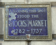 sign: London Stocks Market, 1282-1737