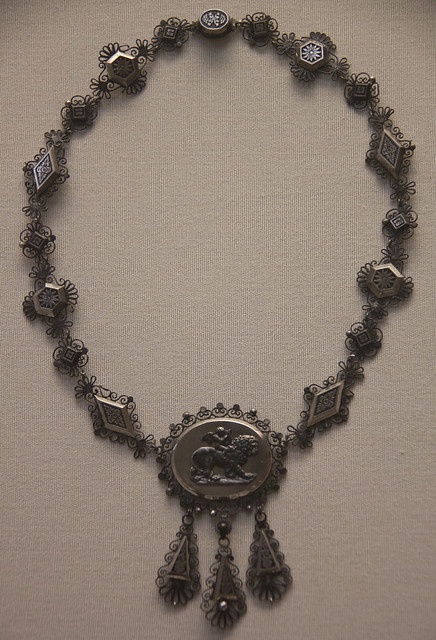 Iron and steel necklace, German or French, 1820-30