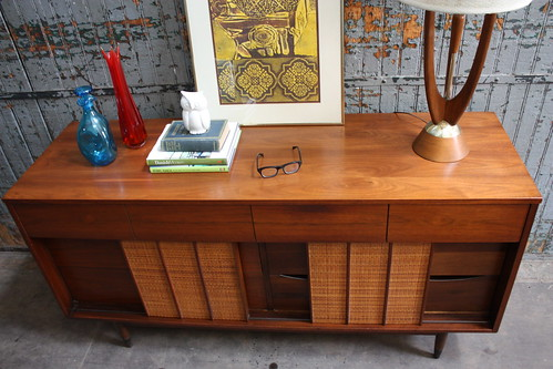 Captivating Hooker Mainline Mid Century Walnut Dresser (with reversible doors!)