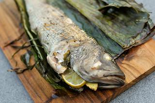 Vietnamese Stuffed Bass Wrapped in Banana Leaf