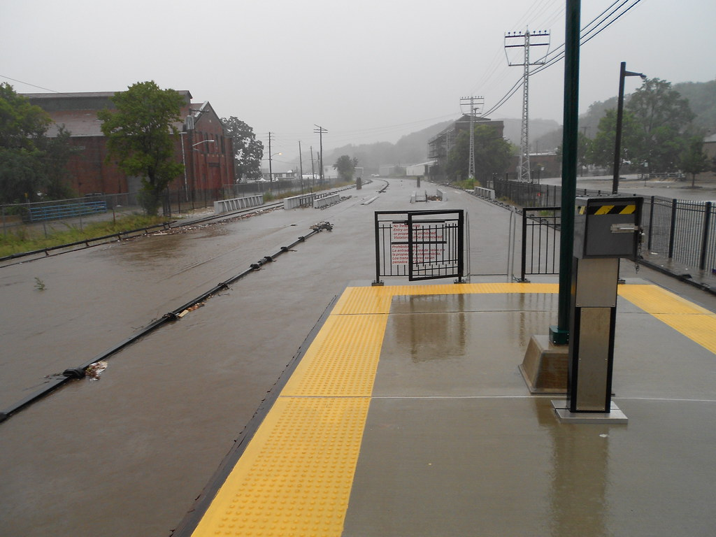 Ossining, running rails under water, only top of third rail visible