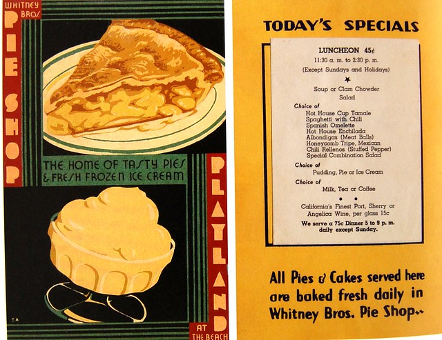 1936 menu from Whitney Bros. Pie Shop Playland on the Beach San Francisco, CA
