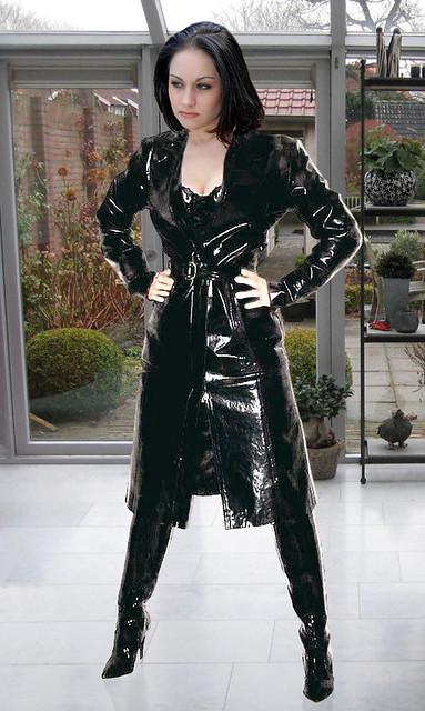 Latex zip up shift dress