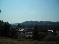 Looking across the valley, with downtown Estacada in the foreground