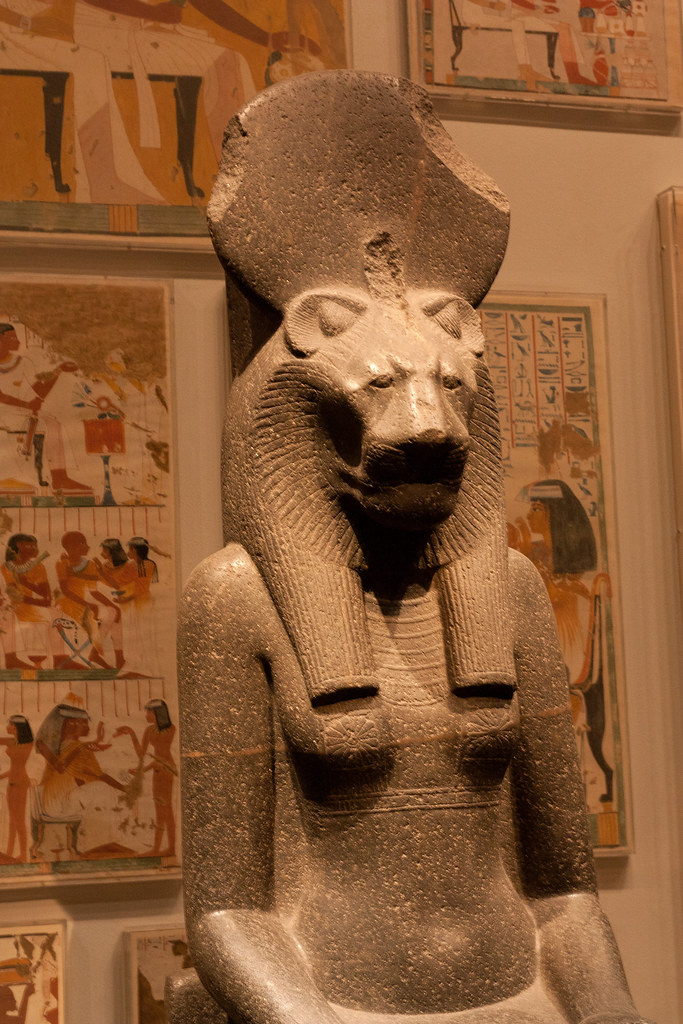 The ancient Egyptian goddess Sekhmet is known as the Eye of Ra. Granodiorite, New Kingdom XVIII, reign of Amunhotep III (circa 1390-1352 B.C)  The Metropolitan Museum allows photo shooting providing there is no financial gain.  Please respect their policy
