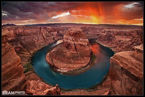sunset red arizona sky storm reflection nature water beautiful rain rock clouds river landscape nikon colorado rocks bend scenic wideangle canyon monsoon page coloradoriver horseshoe redrock nikkor raining 2011 horseshoebend d700 nikond700 aaronmeyersphotography lovelife2012