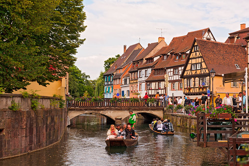 bridge trees houses sky france water river boat nikon pretty colmar alsace channel touristic d700