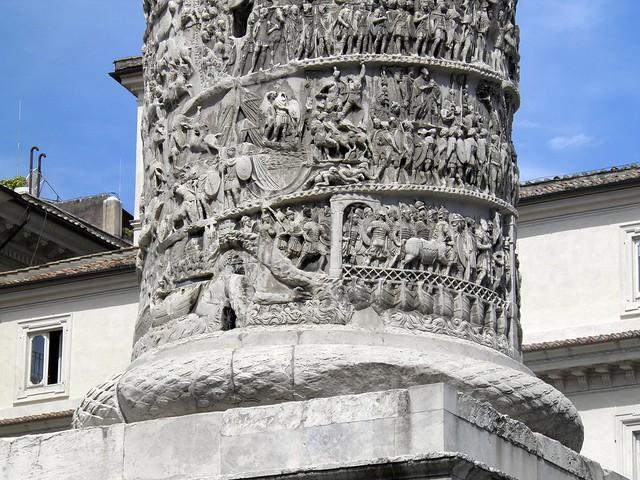 Detail of the lower half of the Column of Marcus Aurelius, Rome