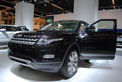saab 9-4x(0.0), automobile(1.0), automotive exterior(1.0), range rover(1.0), sport utility vehicle(1.0), wheel(1.0), vehicle(1.0), automotive design(1.0), auto show(1.0), range rover evoque(1.0), land vehicle(1.0), luxury vehicle(1.0),