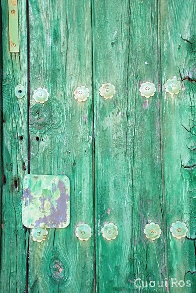 old and green door