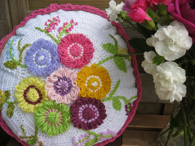 Crochet and Flower Loom Cushion Flickr - Photo Sharing!