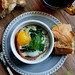 Baked Egg with Sauteed Spinach, Goat Cheese and Proscuitto