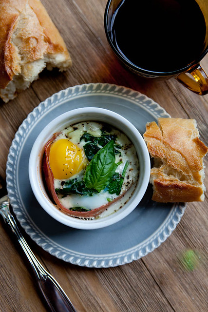 Baked Egg with Sauteed Spinach, Goat Cheese and Proscuitto   Flickr ...