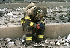 Firefighter pauses on 9/11, by Matthew McDermott
