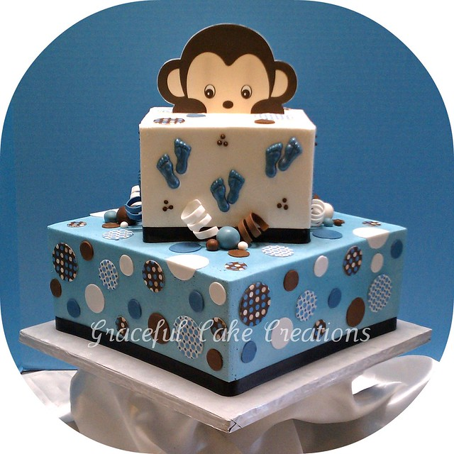 square blue and brown baby shower cake flickr photo sharing
