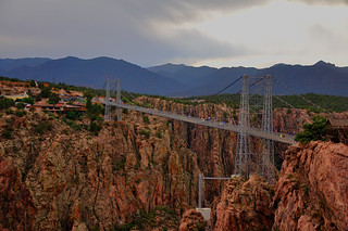 Clouds hover over the Royal Gorge bridge
