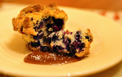 Blueberry Buckle with Salted Caramel Sauce