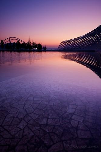 blue sunset orange black reflection water silhouette architecture canon twilight published purple athens greece calatrava olympics canonefs1022mmf3545usm canoneos40d