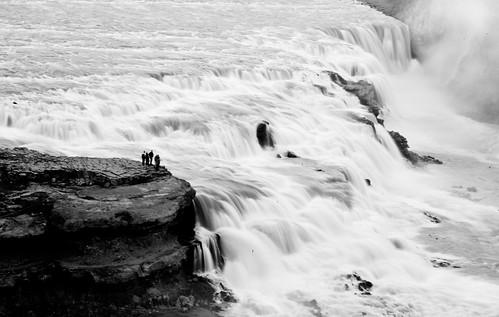 Gullfoss waterfall (B&W)