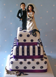 Purple & white wedding cake
