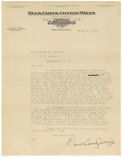 Letter from Marshall Dilling Opposing Keating-Owen Child Labor Bill, 03/20/1916