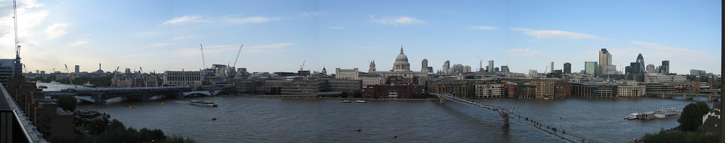 Towers, Bridges & St Pauls': the north bank of the Thames, viewed from The Tate Modern