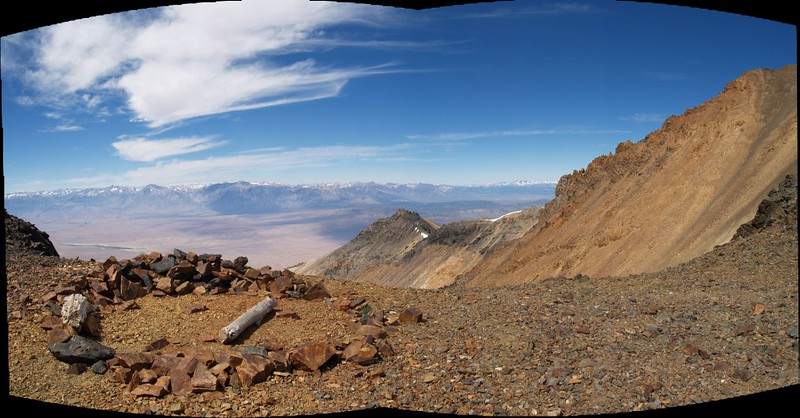 Stitched panorama of a campsite high on the side of White Mountain Peak