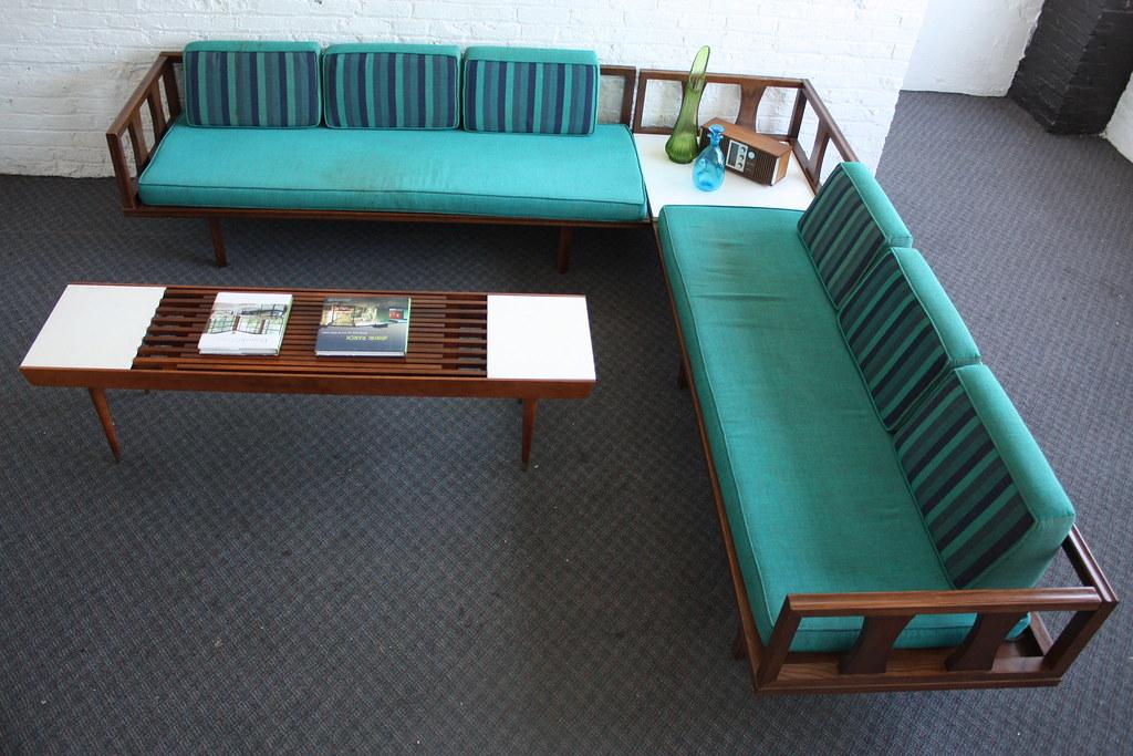 Danish modern mid century modern sectional daybed sofa a for Vintage mid century modern sectional sofa