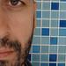 Blue Mosaic Self Portrait by Geoffery Kehrig