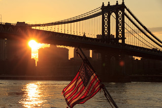 American Flag at Sunset