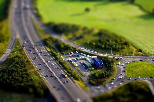 M6, junction 31, Tickled Trout Junction - tiltshift