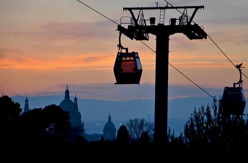 barcelona sunset sec montjuïc postadesol mnac poble telefèric
