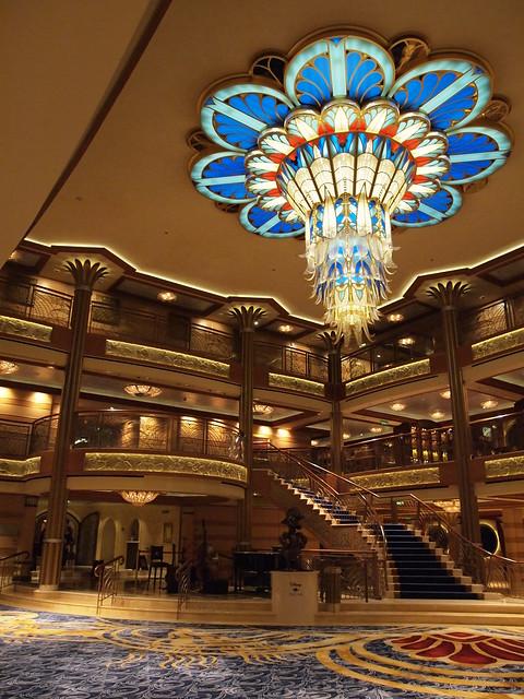 Art Deco Chandelier In Atrium Of Disney Dream Cruise Ship