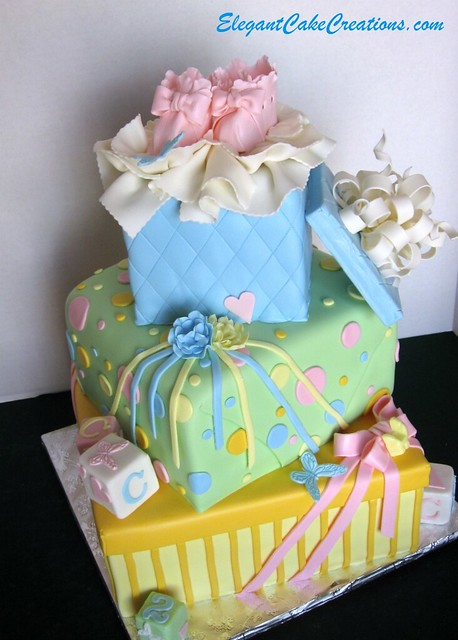 baby shower stacked gift boxes cake a colorful baby shower
