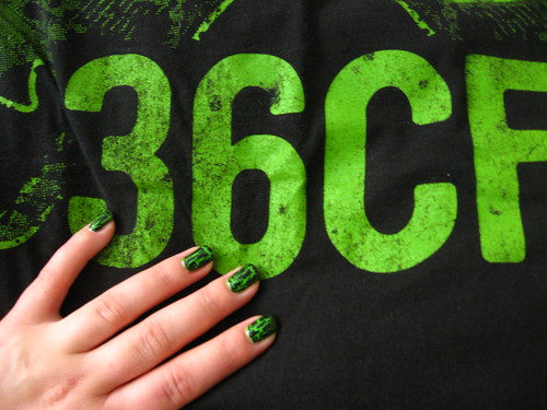 Black crackle + green + fave band tshirt