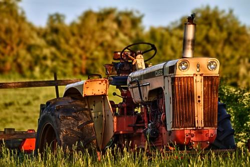 morning tractor rural sunrise bokeh farm madison vehicle wi hdr