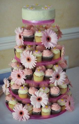 Pink Ivory Cupcake Tower Wedding at Coulsdon Golf Club Surrey