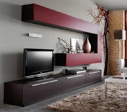 Modular moderno rack panel tv lcd living progetto mobili for Muebles modernos para living