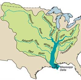 Mississippi River tributaries: Ohio R, Tenn R, Missouri R, Ark R, Red R by trudeau