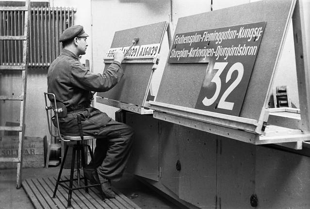 sign painter at tram depot in stockholm 1943 flickr photo sharing