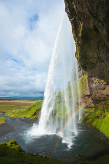 Seljalandsfoss with rainbow